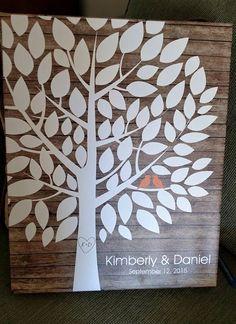 Rustic Wood Wedding Tree Canvas | Guest Book Alternative | Rustic Wedding | Customer Photo | Wedding Color - Orange | peachwik.com