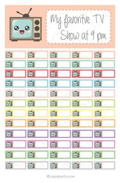 TV Show Tracker Printable stickers,EC Planner Set, Planner Stickers, Erin Condren, Instant Download