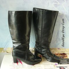 Vintage Leather WIDE LEG Knee Boots Size 10 ww Eur 42 by GoodEye