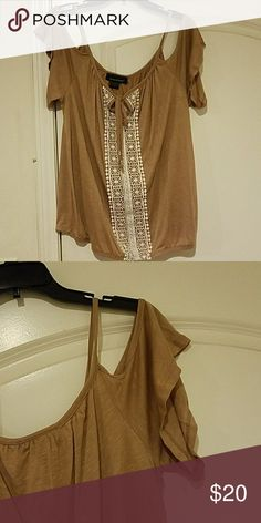 Cold Shoulder T-Shirt Elastic waist. Cute with jeans, shorts or a skirt. Perfect summer top. Brand New.  Still has tag. Ashley Stewart 14/16. Ashley Stewart Tops Blouses