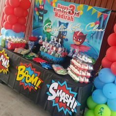 PJ MASK theme for a sweet 3 year old. Shared Birthday Parties, Girl Birthday Themes, Kids Party Themes, 4th Birthday, Party Ideas, Gift Ideas, Festa Pj Masks, Second Birthday Ideas, Mask Party