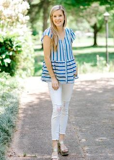 3a1c1ff1ea8 Our Blue Springs Striped Top just shouts summer fun! We love how the  stripes are