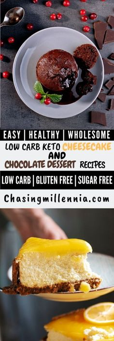 I've curated some of the best low carb dessert recipes that you are going to find. All recipes here are sugar free, gluten free & diabetic friendly. Sugar Free Cheesecake, Low Carb Cheesecake Recipe, Sugar Free Desserts, Cheesecake Bars, Dessert Recipes, Ricotta Cheesecake, Lemon Cheesecake, Ketogenic Desserts, Keto Friendly Desserts