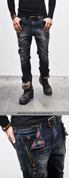 Bottoms :: Jeans :: Check Accent Zippered Semi-baggy-Jeans 115 - Mens Fashion Clothing For An Attractive Guy Look: Dapper Gentleman, Gentleman Style, Indian Men Fashion, Mens Fashion, Look Fashion, Fashion Outfits, Baggy, Attractive Guys, Dress For Success