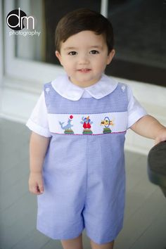 Smocked Circus Jon Jon, maybe for his bday Little Boy Outfits, Little Girl Dresses, Baby Boy Outfits, Kids Outfits, Sewing For Kids, Baby Sewing, Baby Boy Fashion, Kids Fashion, Smocking Baby