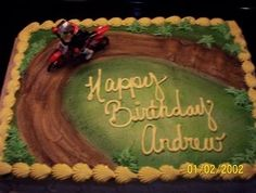 I found a cute dirt bike toy for this cake and airbrushed the top to look like part of a dirt bike track. Dirt Bike Cakes, Dirt Bike Party, Dirt Bike Birthday, Cake Cookies, Cupcake Cakes, Cupcakes, Chocolates, Cake Icing, Cake Decorating Techniques