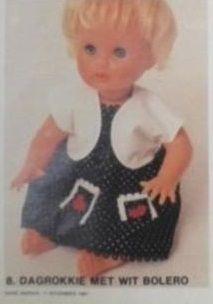 Sarie Handwerk, Somer uitrusting vir 'n First Love Pop / doll. Number 8 Dagrokkie met wit bolero. Patterns in Afrikaans. Use cooupon to obtain English copies.