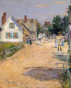 Walk Around the Island - Childe Hassam - East Gloucester End of Trolly Line-1895-