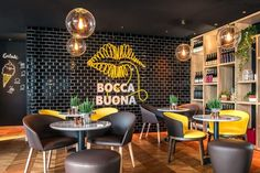 Lobby & Bocca Buona Restaurant in Park Inn Radisson Zurich Airport by A Pinch of… Restaurant Design, Döner Restaurant, Decoration Restaurant, Restaurant Seating, Restaurant Concept, Restaurant Branding, Restaurant Marketing, Restaurant Interiors, Cafeteria Design