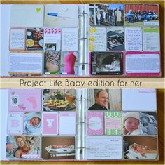 Project Life Baby edition for her Alex you should do this! Project Life Scrapbook, Project Life Layouts, Pregnancy Scrapbook, Baby Scrapbook, Crafty Projects, Projects To Try, Project Life Baby, Scrapbooking Ideas, Scrapbook Layouts