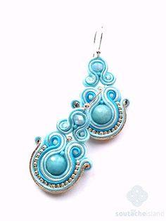 Blue, mint soutache earrings