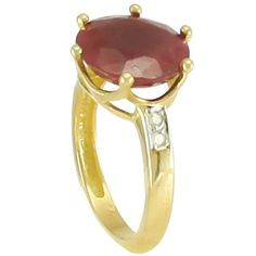 Anel em ouro 18k com diamantes e rubis