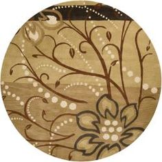 @Overstock - A floral pattern decorates this hand-tufted wool rug. Beige, brown, ivory, charcoal and tan hues accent this area rug.http://www.overstock.com/Home-Garden/Hand-tufted-Whimsy-Tan-Wool-Rug-99-Round/5724088/product.html?CID=214117 $511.99
