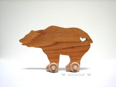 Wooden Toys - Grizzly Bear -Wood Toy Animals -Kids Toys -Kids Room Decor -Nursery Decor -Scroll Saw Woodwork -Bear Art -Push Toy -Bear Decor