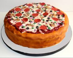 Inspired Image of Pizza Birthday Cake . Pizza Birthday Cake Chocalate Birthday Cake Pizza It Tasted Like Yummy Chocolate Birthday Cakes For Men, Pizza Birthday Cake, Pizza Cake, Themed Birthday Cakes, Cakes To Make, How To Make Cake, Cakes That Look Like Food, Foto Pastel, Pinterest Cake