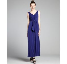 Suzi Chin bluebird v-neck knot front stretch jersey maxi dress