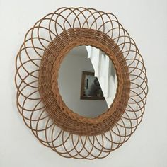 Authentic French Vintage Wicker Mirror - Miroir Soleil Vintage Rotin - Free Delivery UK-Livraison Gratuite France