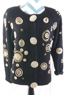 Victoria Harbour Women's Size Large Black Ugly Christmas Holiday Beaded Sweater