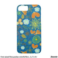 Cute mixed blue paisley colorful flowers patterns iPhone 8/7 case