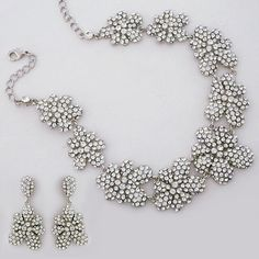 Bling! Bridal Jewelry, Pave Floral Crystal Bridal Jewelry Set.  Statement necklace & earrings in a pave floral design has a vintage charm & an air of sophistication.