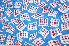 1940s Feed Sack Unopened Red Blue Plaid Squares by PantryDoor