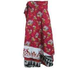 Mogulinterior Beach Wrapskirt Red Floral Printed Sarong Revesible Long Maxi Wrap Dress