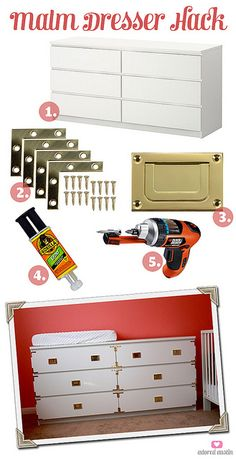 Hack an Ikea Malm dresser into a campaign- style inspired piece // easy #diy ---> possible dresser option!