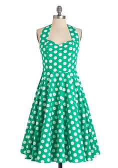Like, Oh My Dot! Dress in Emerald - Green, White, Polka Dots, Casual, Rockabilly, Vintage Inspired, 50s, Fit & Flare, Summer, Woven, Better,...