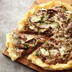 Steak and Mushroom Phyllo Pizza