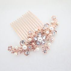 Rose Gold Hair comb, Wedding hair comb, Rose Gold headpiece, Wedding headpiece, Rhinestone hair comb, Floral headpiece, Swarovski crystal by treasures570 on Etsy (null)