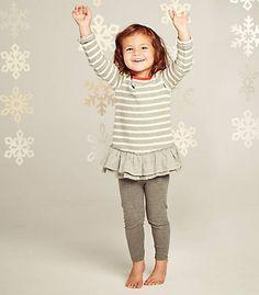 Kids Stripe Dress Set: Color - Heather Grey
