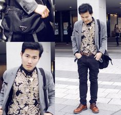 Sammydress Korean Style Shirt Collar Floral Splicing Long Sleeves Polyester Shirt For Men, Prada Messanger Bag, Gap Blazer