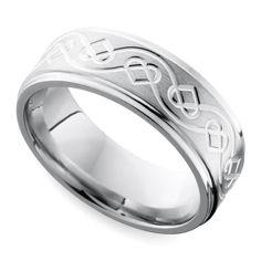 Grooved Edge Celtic Heart Men S Wedding Ring In Cobalt 9 Mm