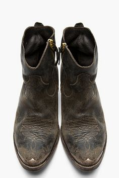 GOLDEN GOOSE Black Leather Embroidered Zip Young Boots (i want these  soooooooooo bad) (why do shit looking shoes cost so much) f2d01390b5