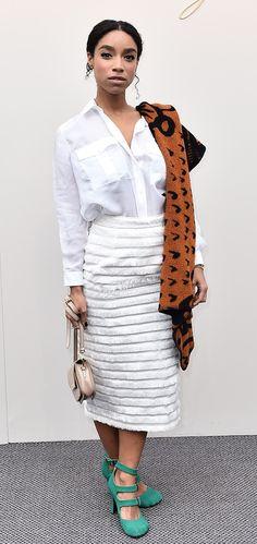 Wearing Burberry, Lianne La Havas arrives at the womenswear show in London