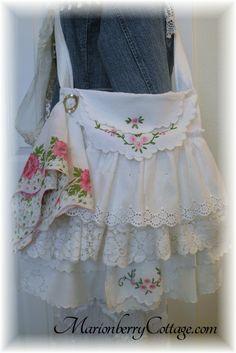 Vintage Gypsy boho tattered ruffles slouchy handbag