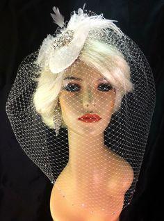 Birdcage Veil, Bridal Hat, Ivory, Feather Fascinator, Wedding Head Piece, Veil, Swarovski Crystals and Rhinestones - Velvet or Dupioni Silk