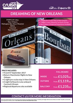#NewOrleans visit Manchester Airport departure 1ngt pre-cruise stay and 3ngt FB cruise Carnival Cruise Line call us for info 0800 975 7584 ABTA/ATOL