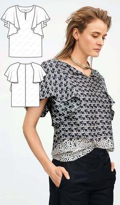 Blouse Burda Jul 2017 #119 http://www.burdastyle.com/pattern_store/patterns/flounce-blouse-072017