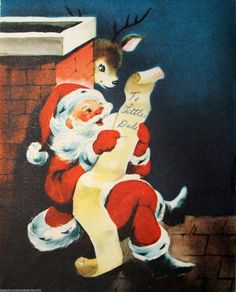 1940's Santa Reindeer Sitting on Roof Reading Letter Vintage Christmas Card | eBay