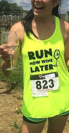 A girl who means what she says and puts it on a tee shirt!! Perfect for running, drinking, or both!!