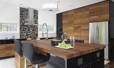 Armoires de cuisine moderne en placage de noyer et acrylux noir