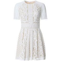 Lover Floral Lace Mini Dress ($995) ❤ liked on Polyvore featuring dresses, vestidos, short dresses, robe, white, floral print dress, short-sleeve dresses, floral lace dress, mini dress and lace mini dress