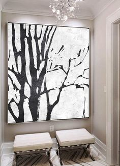 Hand painted black and white painting MN, abstract tree, minimalist painting for modern interiors and neutral home. Toile Photo, Black And White Artwork, Black And White Abstract, Minimalist Painting, Minimalist Art, Metal Tree Wall Art, Tree Art, Canvas Art, Painting Canvas