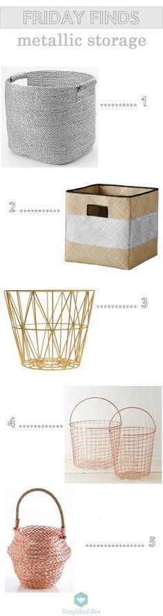 metallic storage bins // simplified bee #organized #home #metallic