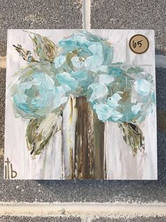 Acrylic on birch wood Small Canvas Paintings, Canvas Art, Watercolor Paintings, Floral Paintings, Abstract Flowers, Texture Art, Art Tutorials, Painting Inspiration, Flower Art