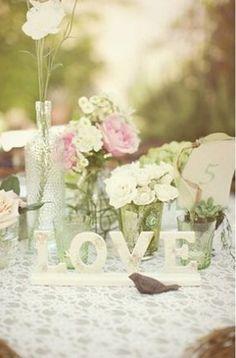 Beginning of my wedding cake table decor :  wedding diy gold green ivory pink reception decor Love Word Inspiration