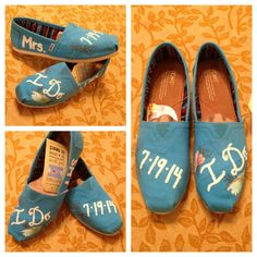 JUST MARRIED Blue Custom WEDDING Shoes Toms Love by DesignByStine
