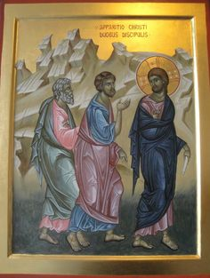 Discepoli in Emmaus Byzantine Icons, Byzantine Art, Jesus Pictures, Pictures To Draw, Religious Icons, Religious Art, Church Icon, Christ Is Risen, Life Of Christ