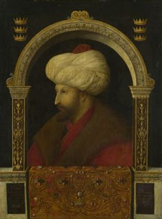 The Sultan Mehmet II  1480 (Ottoman Empire), Attributed to Gentile Bellini.  Also the official portrait painter of the Doges in  Venice